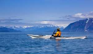 Female Kayaker Paddling In Glacier Bay National Park, Alaska