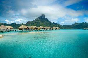 Luxury Thatched Roof Bungalow Resort On Bora Bora