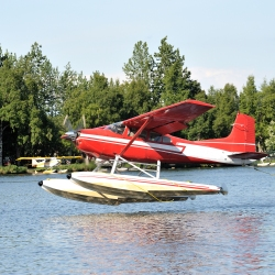A float plane takes off in Anchorage Alaska.